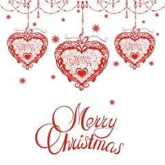 Merry Christmas card with red hearts