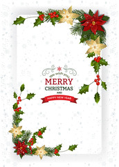 Christmas And New Year Greeting CardChristmas background with decoration and paper.Christmas frame with berry and Christmas Flower Pointsetta