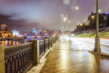 Beautiful cityscape, street in the night city Moscow