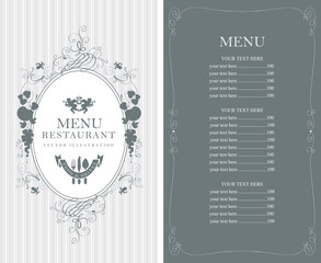 Vector menu for restaurant or cafe with floral ornaments and price list in Baroque style on striped background