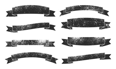 Set of eight retro grunge ribbons banners.
