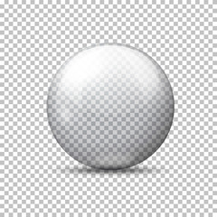 Vector realistic transparent ball, on plaid background.