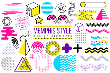 Abstract vector design elements set. Memphis style geometric shapes and forms collection to create poster, brochure, layout, template or presentation. Easy to combine and edit