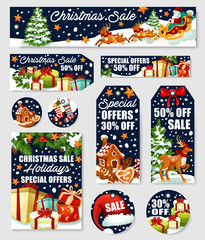 Christmas sale tag and winter holiday offer banner