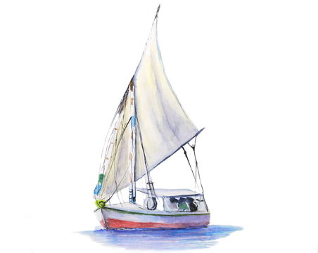 watercolor sailboat isolated on white background