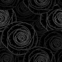 Silver seamless hand-drawing floral background with golden flower roses. Vector illustration.
