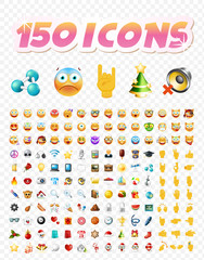 Set of Realistic Cute Icons on Transparent Background . Isolated Vector Illustration