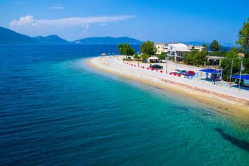 Pefki, Evia island, Greece July 25, 2014: The coast where the ferry is located at Pefki town in Evia island.