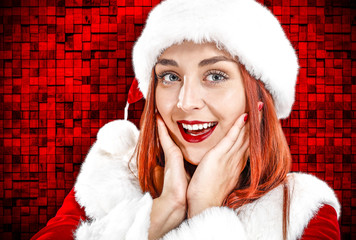 Santa claus woman and red christmas background