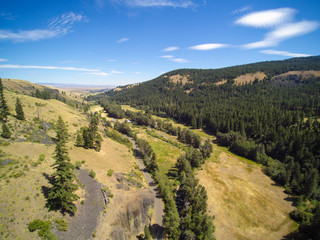 Drone image of Mountain landscape with forested hills
