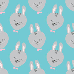 Cute baby pattern with little bunny. Cartoon animal boy print vector seamless. Funny background with rabbit with whiskers and bowtie for children fabric, home textile, nursery or birthday party.