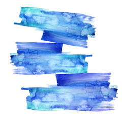 Watercolor abstract drawing from the blue figures. Balance, composition, fall, sustainфability. A blot, a stain, a splash of blue paint. For your design, logo, postcard, website.