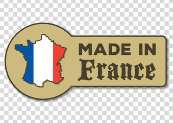 Made in France - icon with French flag  isolated on transparent background