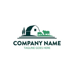 cattle farm logo illustration. vector. editable