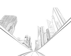 Dubai. United Arab Emirates. Hand drawn city sketch. Vector illustration.