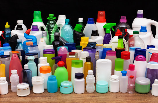 Set of usual plastic bottles from a household - pollution concept