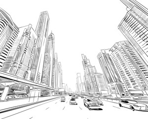 Dubai. United Arab Emirates. Hand drawn city sketch. Vector illustration.