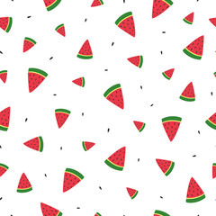 Colorful summer seamless background. Stylish vector illustration for printing fabric, paper, wallpaper, cover, banner. Template for your design. watermelon