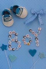 Baby announcement. Newborn background. Fondant accesories.Invitation card