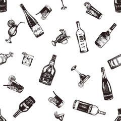 Seamless pattern of hand drawn sketch style alcoholic drinks and bottles. Vector illustration isolated on white background.