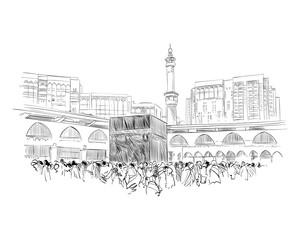 Mecca. Saudi Arabia. Hand drawn sketch. Vector illustration.