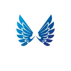 Ancient Symbolic blue Wings emblem. Heraldic vector design element. Retro style label, heraldry logo.