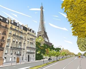 Eiffel Tower vector sketch. Paris, France. Hand drawn vector illustration