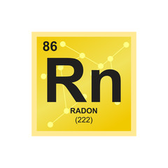 Vector symbol of Radon from the Periodic Table of the elements on the background from connected molecules