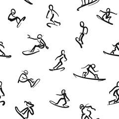 Snowboarding - Calligraphic seamless wall art