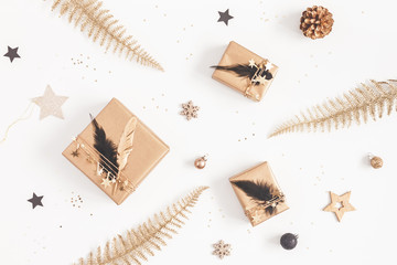 Christmas composition. Gifts, christmas decorations on white background. Flat lay, top view