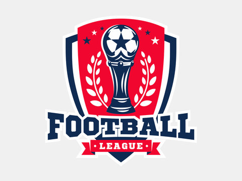 Soccer football logo, emblem designs templates on a light background