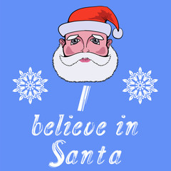 Santa Head Icon Typography Design