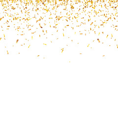 Christmas golden confetti. Falling shiny confetti glitters in gold color. New year, birthday, valentines day design element. Holiday background.