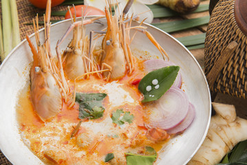 Tom yum kung or tom yam kung  is a type of hot and sour famouse food in Lao and Thai soup,usually cooked with shrimp.Tom yum has its origin in Laos and Thailand food
