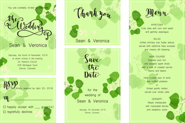 Save the date card, wedding invitation, greeting card with beautiful flowers, green leaves of linden and letters