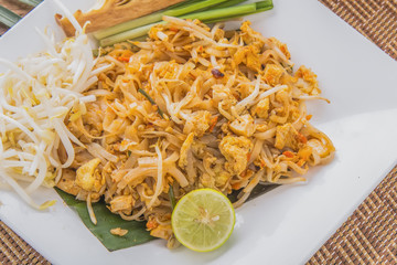 Fried Rice Sticks with Shrimp,Thai tradition food Pad thai,Fried Noodles with shrimps or prawns