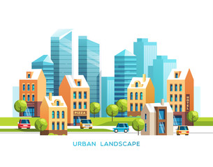 Urban summer landscape. City with skyscrapers and traditional buildings and houses, trees, cars. Vector illustration.