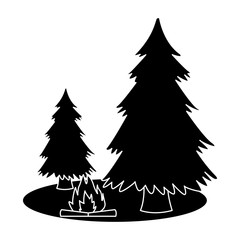 Tree pine and bonfire icon vector illustration graphic design