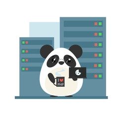 Anthropomorphic panda - programmer standing with computer and coffee in server room. Cute vector illustration