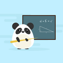 Anthropomorphic panda - teacher standing with board and teaching of geometry theorem. Cute vector illustration