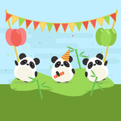 Cartoon illustration of three cute pandas with balloons and falgs on green grass. Flat design for children