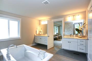 Amazing master bathroom with two bathroom vanities