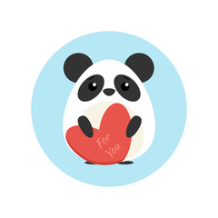 Vector illustration of cute panda with heart shape in paws in blue circle on background