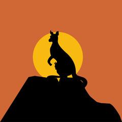 Canguro en la puesta de sol (vector)