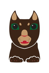 Vector head of wild pussycat. Cougar animal. Decorative stylized image. Isolated on white background.