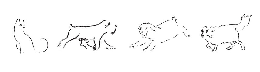 Contour of  hand drawn cat and dogs. Vector imperfect illustration. Black outline of animal on white background. Doodle image. Sketch style.
