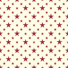 Celebrative vector endless pattern created with pentagonal stars, seamless composition. Continuous texture can be used as starry website background and as wrapping paper on holiday theme.
