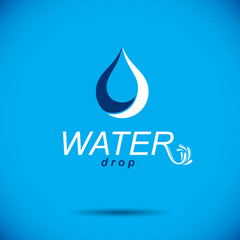 Vector blue clear water drop logotype for use as marketing design symbol. Living in harmony with nature concept.