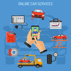 Online Car Service and Maintenance Concept