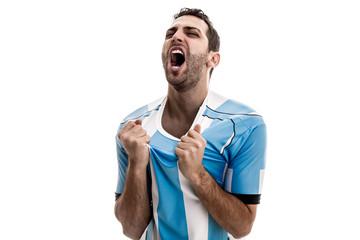 Argentina fan celebrating on white background